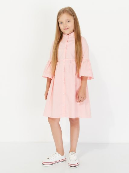 Хлопковое платье в горошек персиковое