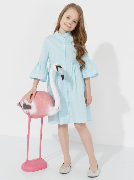 Хлопковое платье в мелкий горошек голубое