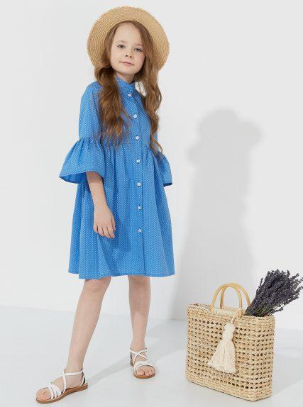 Хлопковое платье в мелкий горошек синее