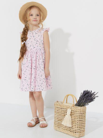 Летнее платье из льна в цветочек розовое
