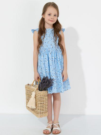 Летнее платье из льна в цветочек голубое