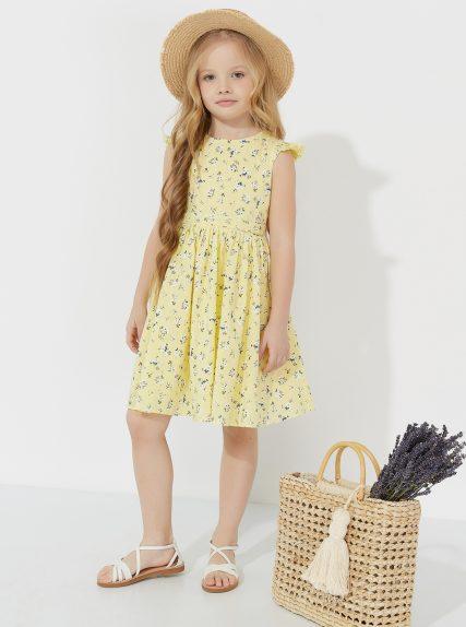 Летнее платье из льна в цветочек желтое