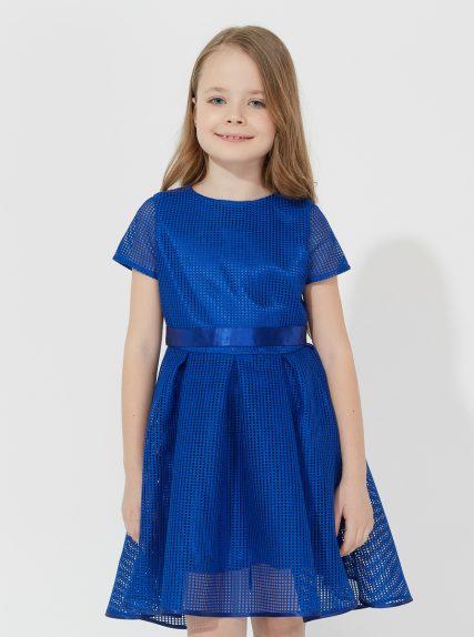 Платье в сетку синее