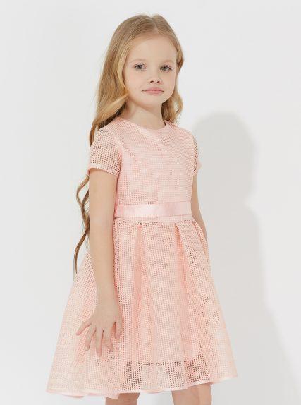 Платье в сетку персиковое