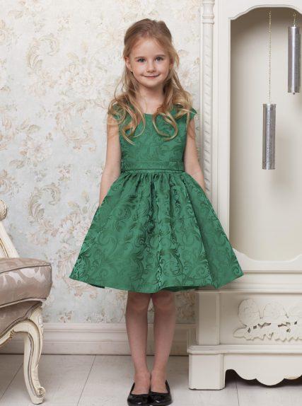 Платье фиона из жаккарда зелёное