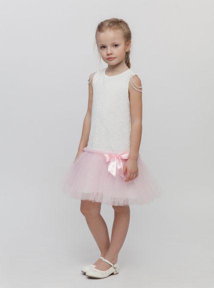 Платье с бусинами розовое