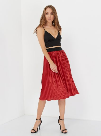 юбка плиссированая красная