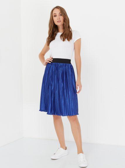 юбка плиссированая синяя