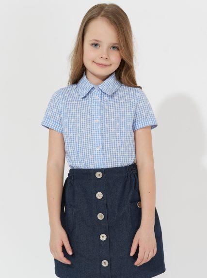 Рубашка с коротким рукавом в клеточку голубая