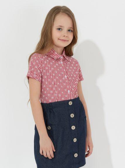 Рубашка с коротким рукавом в клеточку красная