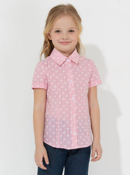 Рубашка с коротким рукавом в клеточку розовая