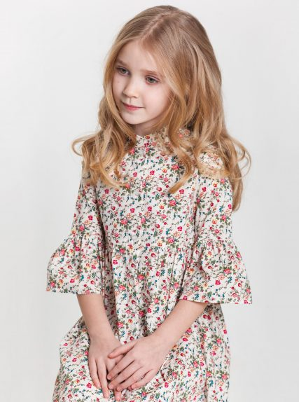 Хлопковое платье в цветочек красное