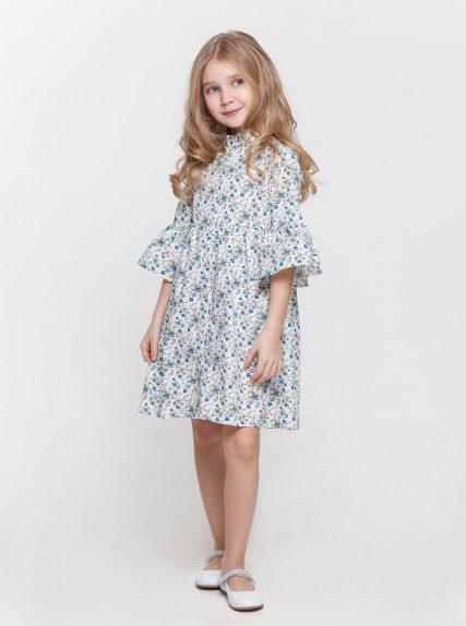 Хлопковое платье в цветочек синее