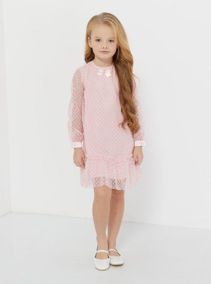 Платье в сеточку с бантиком розовое