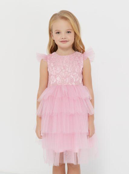 Платье из гипюра розовое