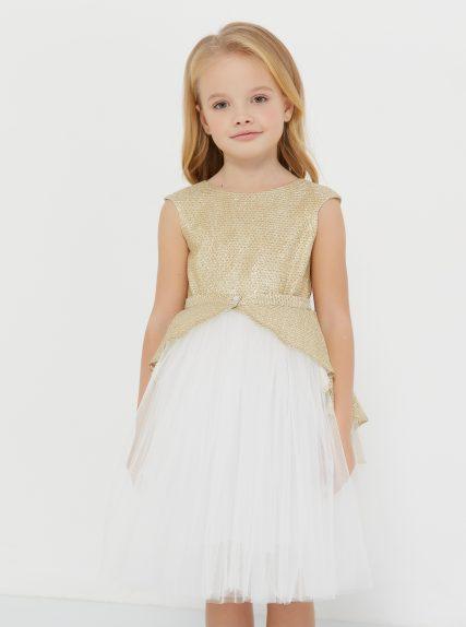 Платье с блестящей баской золотое