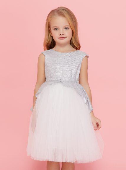 Платье с блестящей баской серебристое