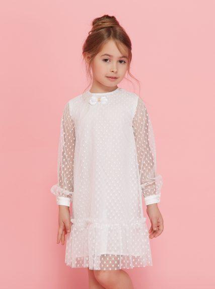 Платье в сеточку с бантиком белое