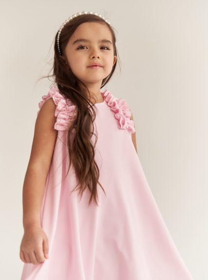 Платье с рюшами розовое