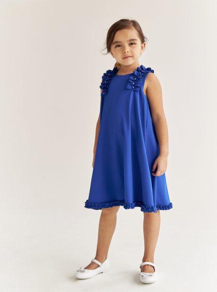 Платье с рюшами синее