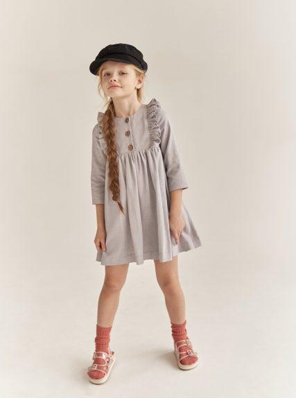 Платье из льна серое