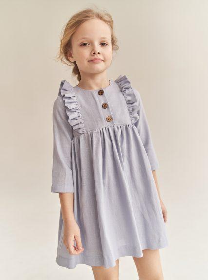 Платье из льна голубое