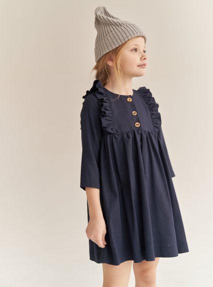 Платье из льна темно-синее