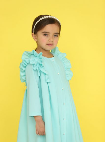 Платье из вафельной ткани мятное