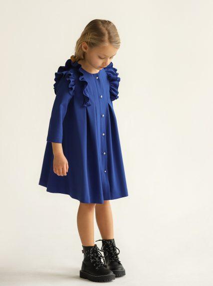 Платье из вафельной ткани синий