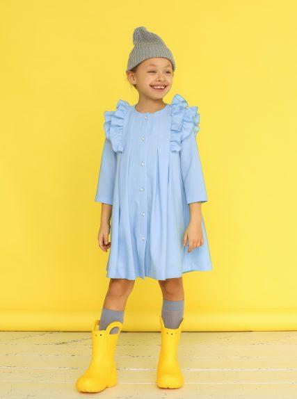 Платье из вафельной ткани голубое