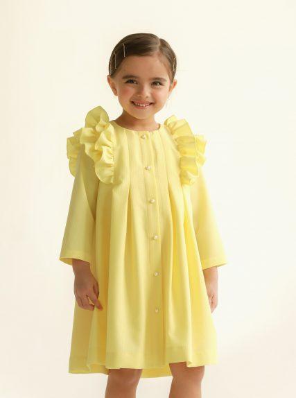 Платье из вафельной ткани жёлтое