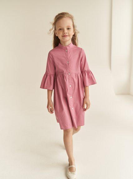 Хлопковое платье в горошек розовое
