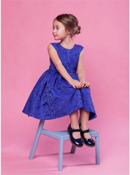 Платье фиона из жаккарда синее