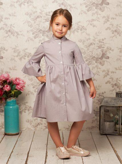 Хлопковое платье в горошек серое