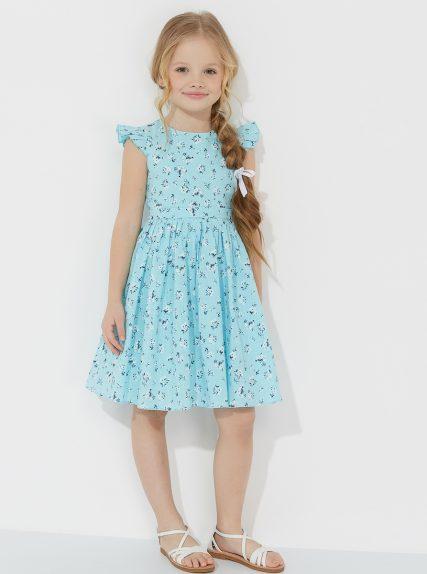 Летнее платье из льна в цветочек мятное