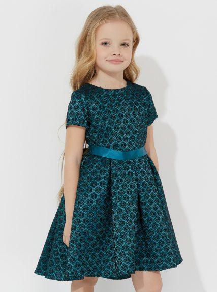 Платье темное жаккардовое с ассимметричным низом зелёное