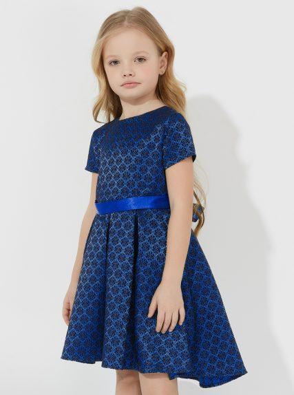 Платье темное жаккардовое с ассимметричным низом синее
