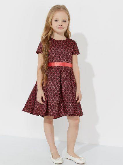 Платье темное жаккардовое с ассимметричным низом коралловое