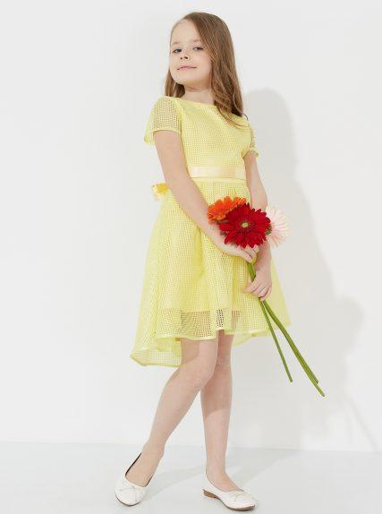 Платье в сетку желтое