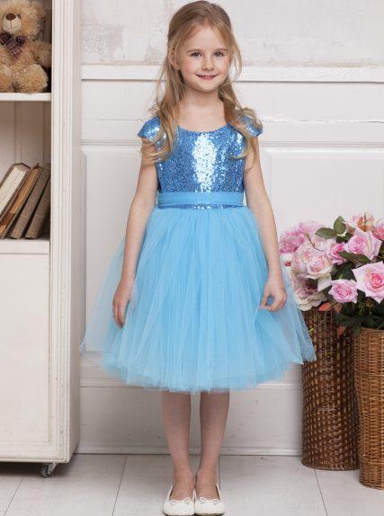 Платье из пайеток голубое