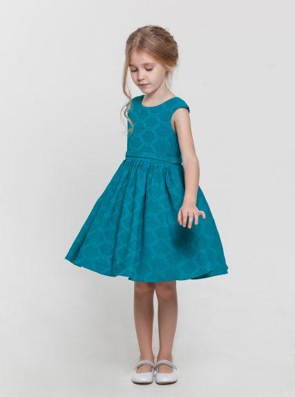 Платье бирюзовое с вырезом на спинке