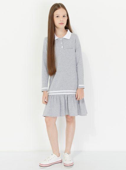 Платье поло серое