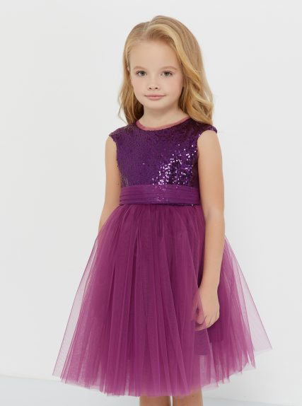 Платье из пайеток фиотетовое