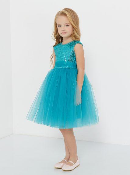 Платье из пайеток бирюзовое