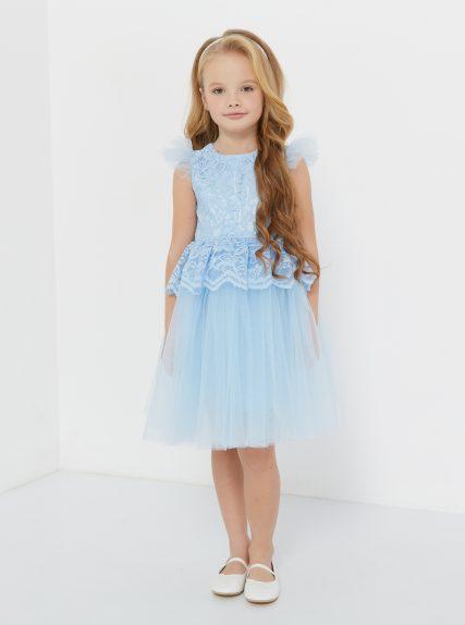 Платье из гипюра с баской голубое