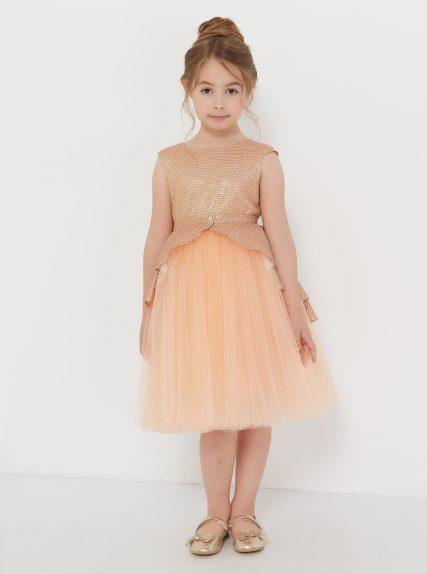 Платье с блестящей баской персиковое