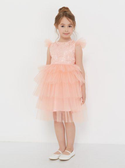 Платье из гипюра персиковое