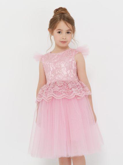 Платье из гипюра с баской розовое