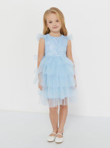 Платье из гипюра голубое