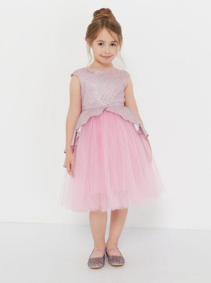 Платье с блестящей баской розовое